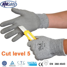 NMSAFETY new 13 gauge pu coated cutting glove/cut resistant glove/level 5 cut gloves