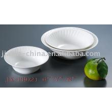 Weiße Farbe runde Form Porzellan Geschirr JX-PB021