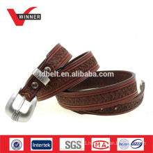 Brown Embossed real leather belt
