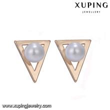 94668 Neuestes Gold Ohrring Designs Dreieck Form einfach Stil Nachahmung Perlenohrringe