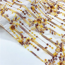 French Dress Embroidery Fabric On Cotton Mesh