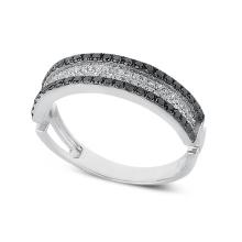 Regalo de boda blanco y negro de la joyería del anillo de plata del diamante