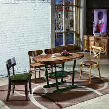 Modern Wooden Table and Chair with Leather Furniture Set (SP-CT787)