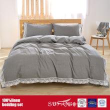 Juego de sábanas 100% de lino con lavado de piedra en color gris, blanco y rosa