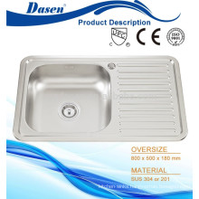 Stainless steel wall mount kitchen sink 800x500mm with tap hole