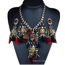 Collier en alliage de perles de conception d'oiseaux (XJW13704)