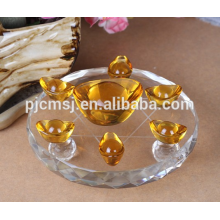 фэншуй подарки кристалл Золотой слиток с кристаллом 7 крестовина