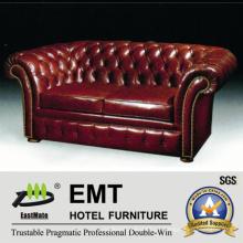 Sofá de couro de categoria superior Sofá de apartamentos Sofa Set Sofa (EMT-SF35)