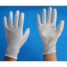 Fibra de carbono malha luvas de trabalho revestidas com PU em palma / anti luvas estáticas