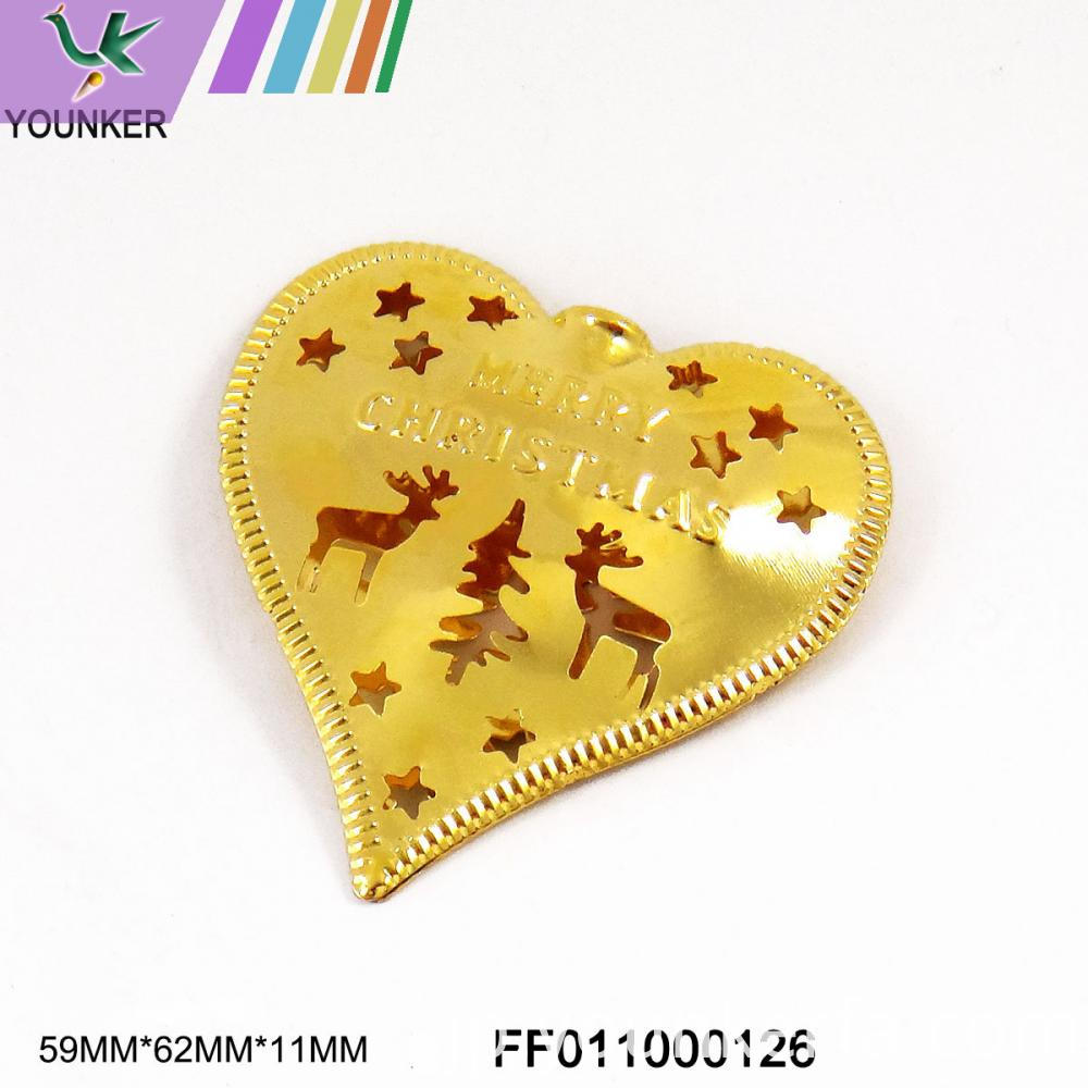 Gold Heart Shape Hang Ornament
