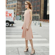 Simple Sleeveless Pink Round-Neck Fishtail Women′s Dress