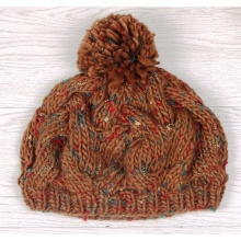 Made to Order Fashionable Knitted Lady Hat with Fur Pompom