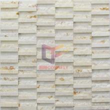 Beige Strip Irregular Marble Mosaic (CFS1027)