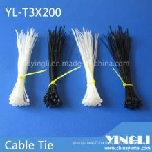 Attache de câble en nylon autobloquante de taille 3X200mm