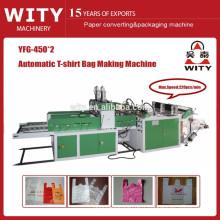 Machine automatique de fabrication de sacs à gilet en plastique à deux lignes