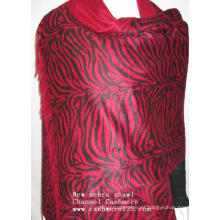 Cachemira Nuevo Rojo Estampado Zebra