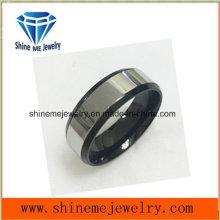 Moda de pulido superficie y Negro Anillo inferior joyas