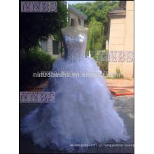 Briliant A Line Sweetheart Strapless Organza Ruffles Vestido de casamento com strass Bandage Encerramento Vestido de noiva