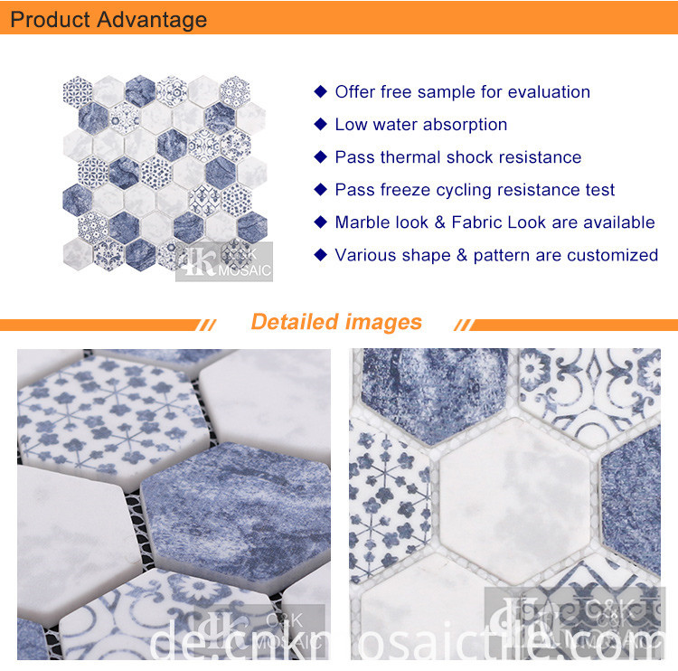 Matte Blue Pattern Hexagon Tile For Wall (2)