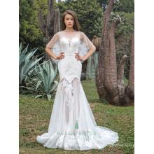 Neuer Entwurfsblumenspitze appliques Hüllenhochzeitskleid-bloße Rockfisch schnitt hemline Hochzeitskleidbraut mit capes