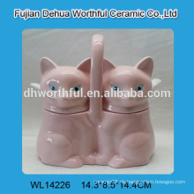Nette doppelte keramische würfeltöpfe mit rosa Fuchsentwurf