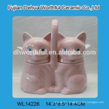 Симпатичные двойные керамические горшки для приправ с розовой лисой