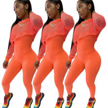 C7207 Fashionable Woman Mesh Tops Outfits Fall Long Sleeve Tracksuits Clothing Bodycon Jumpsuit 2 Piece Workout Sets