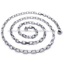 Plaqué argent jamais évasé en acier inoxydable pour homme bijoux Collier en chaîne de largeur 2,5 mm
