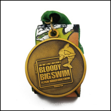 Swim Rewarded Metal Medal with Antique Gold Plated (GZHY-JZ-022)