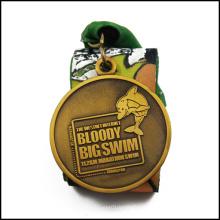 A medalha de prata recompensada da nadada com ouro antigo chapeou (GZHY-JZ-022)