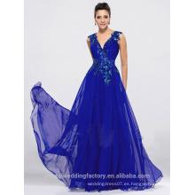 Alibaba Elegante Applique Long Nuevo Diseñador V cuello azul real playa vestidos de noche o vestido de dama de honor LE15