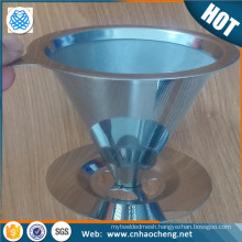 2016 Amazon hot sale stainless steel coffee filter funnel shape reusable dripper coffee filter for chemex hario