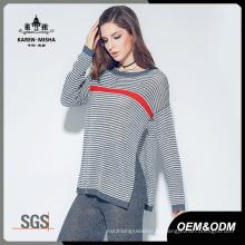 Suéter de jersey de punto a rayas de otoño de manga larga de mujer