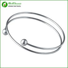 Vêtements femme manchette ouverture Bijoux Perle argent inox 316l acier inoxydable Bracelet Bracelets