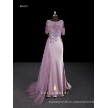Rosa neue Design lange Kappe Ärmel Mantel Abendkleid mit seitlichen langen Zug