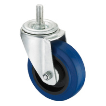Middle Duty Series Caster - Threaded - Blue Elastic Rubber (rolamento de rolos)