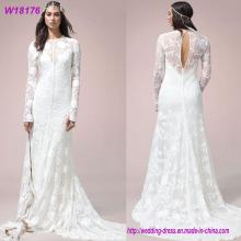 Sexy weißes A-Linie Langes Hülsen-weißes Hochzeits-Kleid 2017