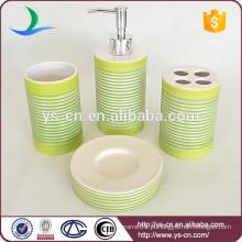 4pcs verde estilo chinês acessórios cerâmicos para casa de banho