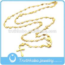 Mens or chrétien grande mère marie croix religieuse pendentif collier de perles