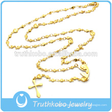 Mens Gold Christian Great Mother Mary Religious Cross Pendant Beaded Necklace