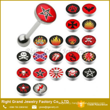 High quality Logo Epoxy Stainless Steel Custom Tongue rings