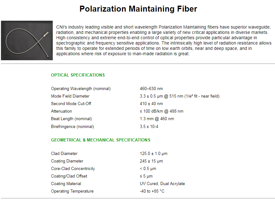 Polarization Maintaining Fibers