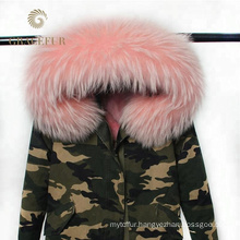 Wholesale sale competitive price designer winter army green military woman parka real fur coat