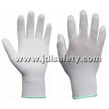 Luva de trabalho ESD com fibra de carbono, revestido com PU branco na palma da mão (PC8101)