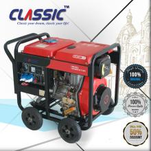 CLASSIC (CHINA) Ensemble de générateur diesel portable monophasé à courant alternatif à 3 voies avec 3 roues et 3000W avec roues et poignée