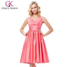 Grace Karin Sexy Ärmellos V-Ausschnitt Satin Wassermelone Farbe Prom Party Kleid Kurz Heimkehr Kleid Unter 100 GK000126-1