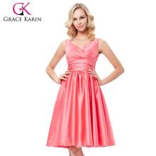 Grace Karin Sexy Sleeveless V-Neck Satin Watermelon Color Prom Party Dress Short Homecoming Dress Under 100 GK000126-1
