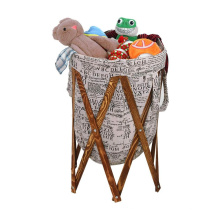 foldable clothes laundry basket with wood frame