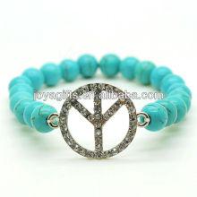Bracelet en pierres précieuses en pierres rondes 8MM Turquoise avec logo Diamante Peace au milieu