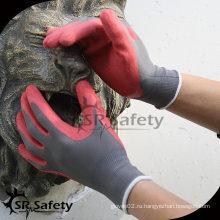 SRSAFETY 13G Вязаный лайнер Латексные резиновые перчатки с скруббером